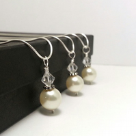 Bridesmaids Gift Set of 3 Veronica Pearl and Crystal Necklace. Cream or White