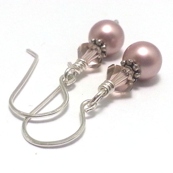 Dusky Rose Pink Pearl and Crystal Sterling Silver Earrings