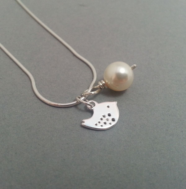 Tiny Sterling Silver Bird Necklace with Pearl. Friendship Gift Other Colours