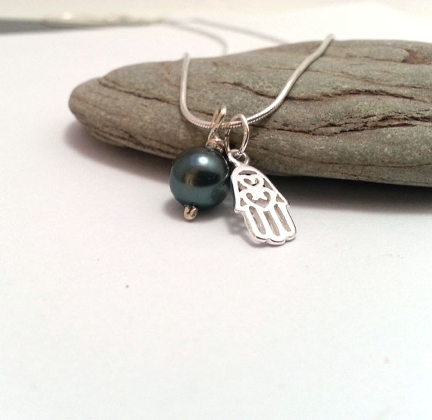 Small Sterling Silver Hamsa Necklace with Tahitain Blue Pearl. Choice of Colour