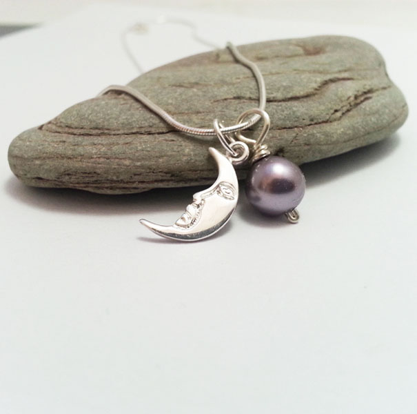 Sterling Silver Moon and Purple Pearl Necklace. Choice of Colours
