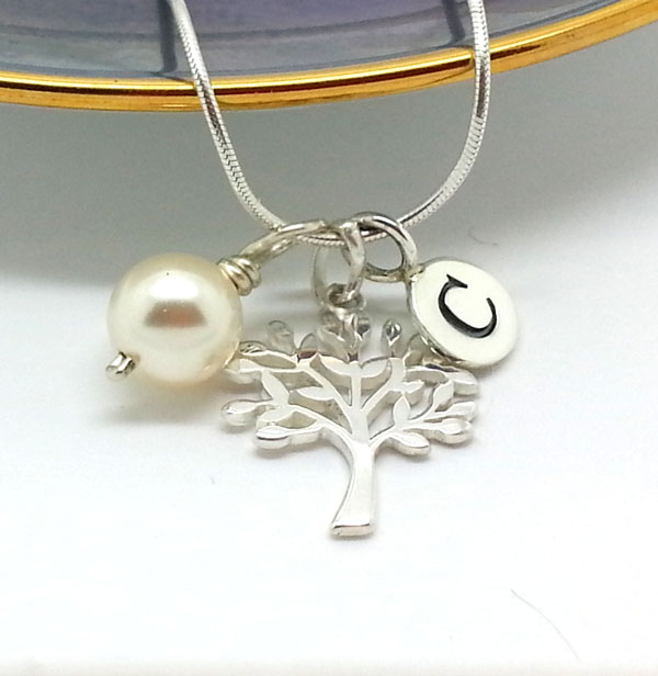 Personalised Sterling Silver Tree Necklace Silver Initial Necklace Tree of Life