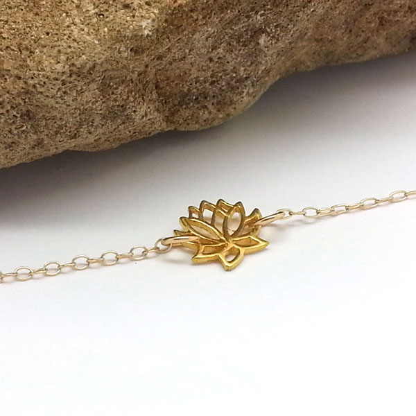 Tiny Gold Lotus Flower Necklace Yoga Choker 14k Gold Filled Necklace