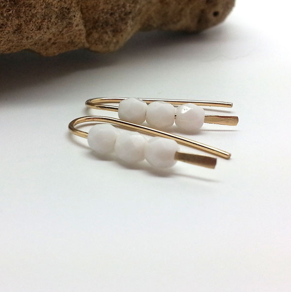Tiny White Glass 14k Gold Filled Earrings Dainty Open Gold Hoops