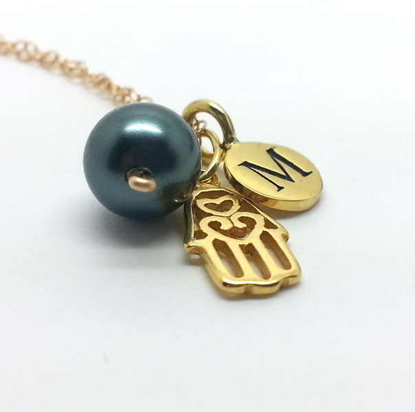 Custom Initial Gold Hamsa Necklace with Tahitian Blue Pearl Hand of Fatima