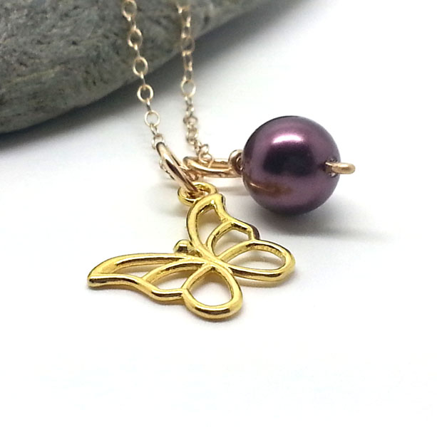 Gold Butterfly Necklace with Burgundy Pearl
