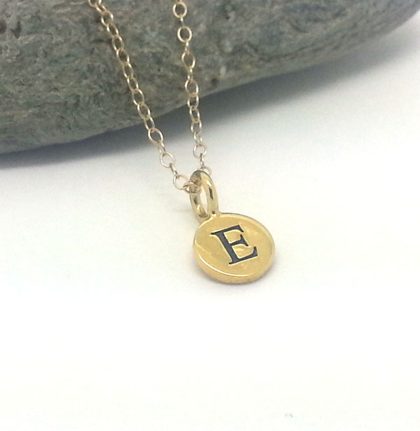 Tiny Personalised Initial Gold Filled Necklace Chain Gold Mongram