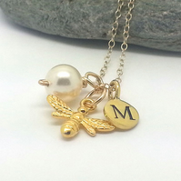 Personalised Gold Bee Necklace with Initial Charm and Pearl