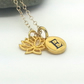 Personalised Tiny Gold Lotus Flower with Custom Initial