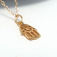 Gold Hamsa Necklace Small Good Luck Amulet Hand of Fatima