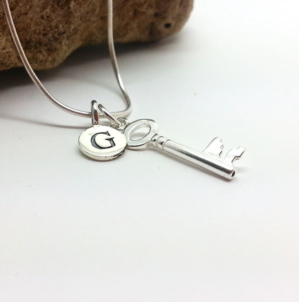 Customised Silver Key Necklace 21st Birthday Key of the Door