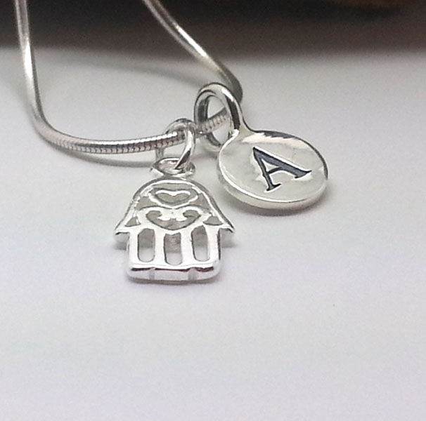 Custom Initial Sterling Silver Hamsa Necklace Hand of Fatima