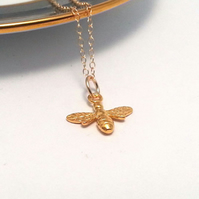 Gold Bee Necklace 14k Gold Filled Necklace Busy Bee Pendant