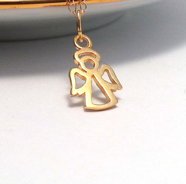 Little Gold Guardian Angel Necklace 14k Gold Filled Necklace Chain