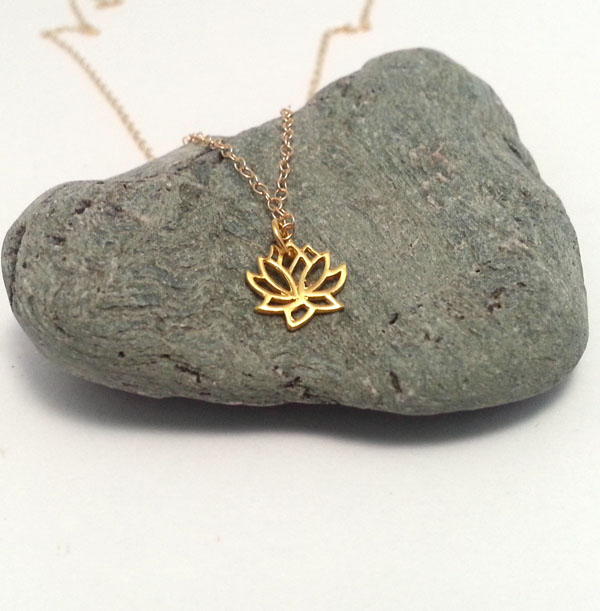 Tiny Gold Lotus Flower Necklace 14k Gold Filled Chain Yoga Necklace