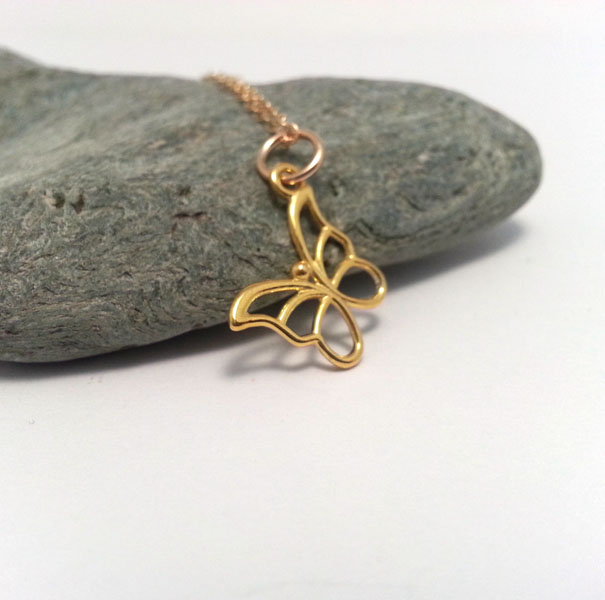 Gold Butterfly Necklace Minimalist 14k Gold Filled Chain
