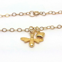 Gold Bee Bracelet Gold Filled Charm Bracelet Gift for Gardeners