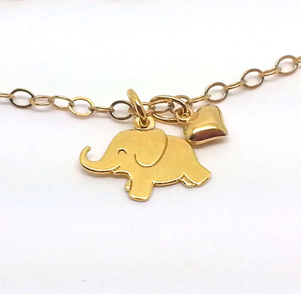 Little Gold Elephant Bracelet Happy Elephant Charm Animal Totem