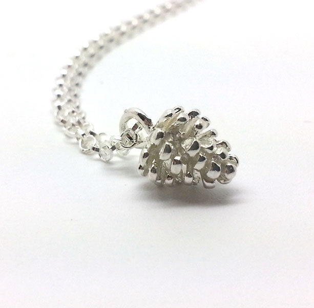 Tiny Silver Pine Cone Necklace Sterling Silver Necklace