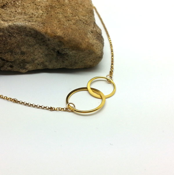Gold Circles Necklace Double Circles Gold Eternity Necklace