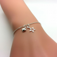 Sterling Silver Star Bracelet Simple Solid Silver Wish Star