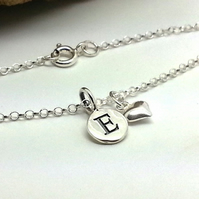 Personalised Silver Bracelet Custom Silver Initial Sterling Silver