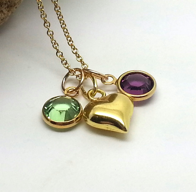 Personalised Gold Birthstone Heart Necklace Mother Necklace