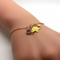 Personalised Gold Elephant Birthstone Bracelet