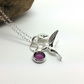 Personalised Sterling Silver Hummingbird Necklace Custom Initial and Birthstone