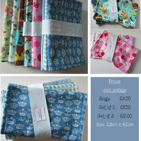 Baby burp cloths in lovely prints