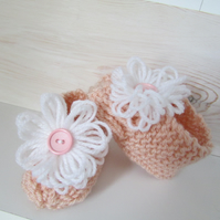 Baby booties with lovely flower detail