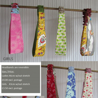Girls Double sided fabric headbands