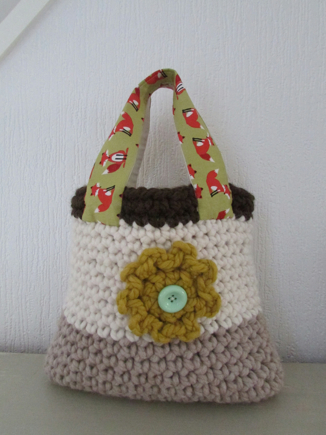 Girl Crochet and fabric tote bag, lined. Free postage to UK Mainland