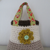Crochet and fabric tote bag