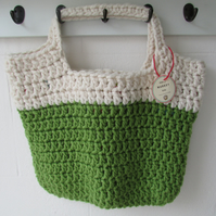 Crochet market tote shopper lined