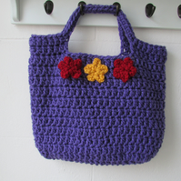 Crochet market tote bag fully lined