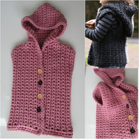 Crochet hooded vest jacket