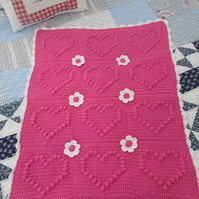 Crochet baby blanket with bobble heart design. Baby shower, Christening gift