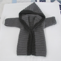 Childs crochet hooded jacket. Fits 12 - 14 months age