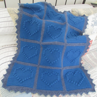 Crochet baby blanket in lovely royal blue & grey colours. Baby gift