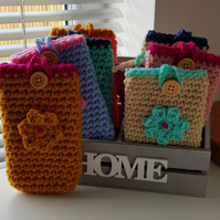 Crochet mobile phone pouch, cell phone sleeve, phone pouch,free postage UK