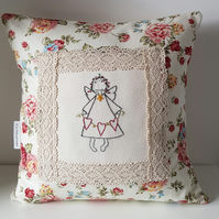 Decorative cushion with handembroidered angel. Vintage rose fabric,cushion,baby