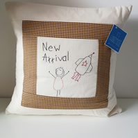 Cushion with hand embroidered verse and child drawing. Inner included, newborn