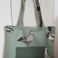 Tote bag with duck print. Gift bag, Mother's day, shopping, library, beach bag