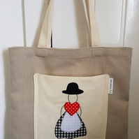Tote bag with Welsh Lady applique. Welsh, Wales, Cymru, Mother's Day bag