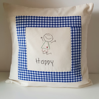 Cushion hand embroidered word. Includes inner