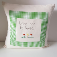 Cushion with hand embroidered verse. Home decor