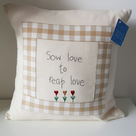 Cushion with hand embroidered verse and flowers.Keepsake, love, homewarming gift