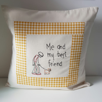 Decorative cushion with hand embroidered verse. Inner included