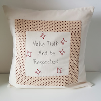 Decorative hand embroidered cushion with verse and star design. Inner included